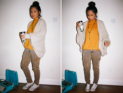 Moira Parton - Cream Batwing Cardigan, Thrifted Bright Yellow/Orange Oversized Jumper, Black Cross Necklace, Brown Skinny Jeans, Converse White And Grey Lace Up Shoes - 121009 — SUNFLOWER