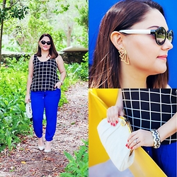 Alice Hernandez - Loft Windowpane Shell, Old Navy Cobalt Harem Pants, Ivanka Trump White Leather Pumps, Vintage White Leather Bag, Target Geo Bangle, Olsenboye Round Sunglasses, Geo Statement Earring - Black & White Grid Print