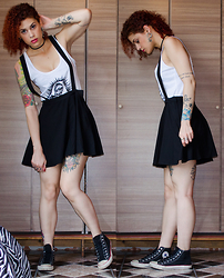 Jiglay P. - White Trash Top, H&M Skirt + Suspenders, Converse All Star - Broken Doll