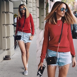 Justine I - Michael Kors Bag, Holt Renfrew Sweater, Ray Ban Aviators, Topshop Shoes - Red Sweater