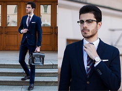 Artem Arutyunov - Cambridge Satchel, Loake Monks, Massimo Dutti Pants, Zara Blazer, Ray Ban Glasses, Daniel Wellington Watch - Spring in Moscow Pt.3