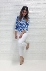 Madaby Mada - Forever 21 Printed Blouse, Uniqlo White Skinny Jeans, Tony Bianco Leola Heel - White Out