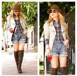 Zia Domic - J. Crew Plaid Shirt, Abercrombie & Fitch Denim Shorts, 14th & Union Over The Knee Boots - Discovery