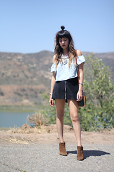 Joellen Lu - Coin Embelished Necklace, Pacsun Kendal & Kylie Off Shoulder Top, Motel Rocks A Line Skirt, Rumba Time Orchard Tortoise Watch - ON THE ROCKS