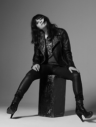 Frankie Clarke - Topshop Leather Jacket, Chaser Ripped Top, Frankie B. Leather Pants, Prada Booties - Rock on