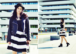 Ola Brzeska - Terranova Hat, New Look Necklace, Amisu Black Top, Black And White Skirt, Second Hand Ramoneska, H&M High Heel Boots, H&M Sunglasses - Black and white stripes
