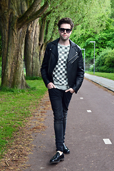 Jordi - Acne Studios Gibson Leather Jacket, Acne Studios Dylan Check Sweater, H&M Jeans, Zara Loafers - Checkers