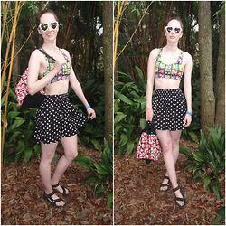 Pauline - Claire's Sunnies, Forever 21 Looney Toon Crop Top, Victoria's Secret Pink Polka Dot Skirt, Teva Sandals - #TBT Toon Town (My Trip to Disney World Part 1)