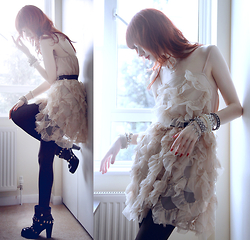 Lady Juliet - Miss Selfridge Ruffle Dress, Dolce & Gabbana Biker Boots - Ruffle Drama