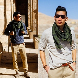 Leo Chan - H&M Sweater, H&M Henley, Gap X Gq M.Nii Pants, Timex Weekender Watch W/ Camo Strap, Mato & Hash Military Shemagh Tactical Desert Scarf, Zerouv Sunglasses, Clarks Clark's Desert Boots - Desert - Luxor, Egypt