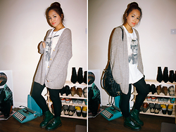 Moira Parton - White Native Skull Printed Shirt, Thrifted Brown Grey Oversized Grandad Cardigan, Forever 21 Black Shoulder Bag, H&M Black Leggings, Dr. Martens Green And Black Boots - 121025 — PIRATES