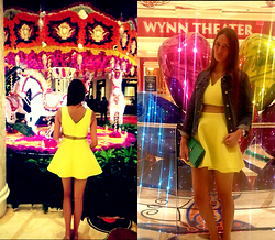 Amina Allam - Zara Denim Jacket, Miss Selfridge Crop Top+Skirt, Saint Laurent Clutch, Chanel Sandals - Last night in Las Vegas