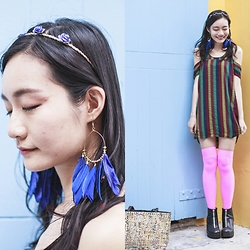 Ren Rong - H&M Feather Hoop Earrings, Urban Outfitters Striped Dress, We Love Colors Neon Pink Thigh Highs, Rubi Platform Boots - Bohemian Rhapsody