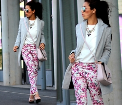 Sindy N - Coat, Top, Necklace, Pants, Shoes, Bag - Pink Floral Pants