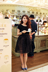 Reina (Ree) - Mango Black Tops, Aldo High Heels, Taiwan Designer Skirts, Anchus Jewelry - Chandelier❤