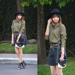 Teffasierra - Talbots Green Blouse, Forever 21 Hat, Forever 21 Leather Skirt, Parfois Black Watch, Aldo Bag, Pierre Dumas Shoes - ARMY