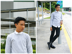 Afifi Zaidin - Nike Sweater, Topman White Button Down Shirt, Topman Ripped Jeans, Dr. Martens Chelsea Boots - Defined