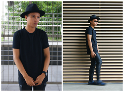 Afifi Zaidin - Forever 21 Fedora, Panerai Leather Strapped Watch, Asos Stretchy Longline Tee, H&M Leather Pants, Topman Socks, Pedro Velcro Strappy Sandals - Undefined