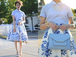 Julie Đặng - Bp. 'Luminate' Open Toe Dress Sandal, Lure Boutique Daisy Necklace, Brooks Brothers Peter Pan Collar Shirt, Ted Baker Marzia Patent Crosshatch Lady Bag, Chic Wish Blue Floral Sketch Pleated Midi Skirt - Three Shades of Blue
