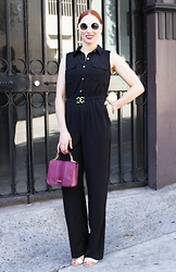 Caity Shreve - Young, Broke & Fabulous Retro Inspired Black Jumpsuit, Sam Edelman White Sandals, Urban Expressions Vegan Handbag, Nordstrom Retro Sunglasses - Retro Jumpsuit