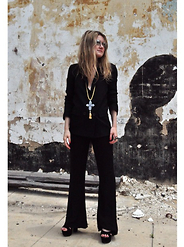 Kirby C - Free People Sunglasses, Zara Blazer, Zara Pants, Vintage Shoes, Free People Necklace - .70