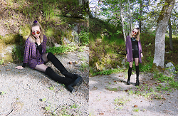 Catarina S. - Boohoo Kimono, Asos Knee High Boots, Lindex Necklace, Cubus Sweater, Vero Moda Shorts, Lindex Shades, American Apparel Scrunchie, Topshop Fishnet Tights - ► Heroes - Måns Zelmerlöv