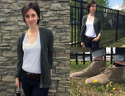Flannel Foxes - Softmoc Chukkas, Madewell Cardigan - Simply Casual