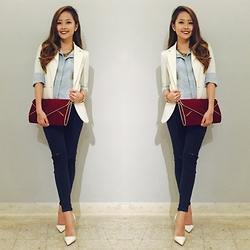 Shelly Tan - Topshop Ripped Jeans, Denim Button Down, White Blazer - Denim on Denim