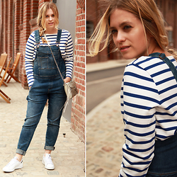 Jille Pille - Adidas Stan Smith, Blank Denim Dungaree, Gant Striped Tee - Dungaree premiere