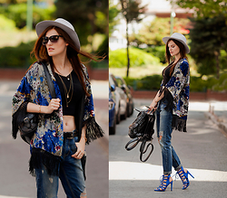 Viktoriya Sener - Asos Hat, Zerouv Sunnies, Sheinside Kimono, Sheinside Top, Sheinside Jeans, Chicwish Backpack, Zara Sandals - FREE WINDS