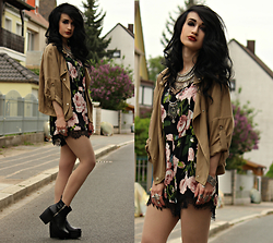 Tessa Diamondly - Zara Short Trench, Trendsgal Floral Playsuit - Garden Of Roses.
