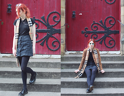 Hannah Louise - Reformation 'Feelings' Tshirt, Topshop Denim Button Through Skirt, Dr Martens 1461 Shoes, Mango Suede Jacket, Burberry Check Scarf, Ray Ban Round Sunglasses - Feelings / Burberry Scarf