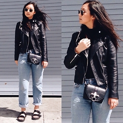 Tiffany Wang - Mango Leather Jacket, Free People Shirt, Levi's® Jeans, Zara Sandals, Ray Ban Sunglasses, Givenchy Bag - MOM JEANS