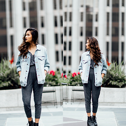 Martha Cabatic - Urban Outfitters Grey Jumpsuit, Kiersten's Closet Denim Jacket, Cathy Jean Black Boots - Rooftop Chilling