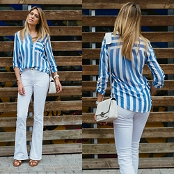 Vanessa Basanta - Zara Blue And White Stripes Shirt, Mango White Pants, Forever 21 White Shoulder Bag - #backtostripes