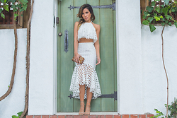 Jessi Malay - Scaraveo Optic Lace Set (Top), Scaraveo Optic Lace Set (Skirt), Edie Parker Jean Bambie Clutch, Ralph Lauren Gold Hoop Earrings - Senorita | Scaraveo Optic Lace