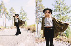 Catarina S. - Lindex Hat, H&M Jacket, Monki Top, Six Necklace, River Island Belt, Karmaloop Flared Pants, Universal City/Hollywood Shades - ► On My Way - Axwell^Ingrosso