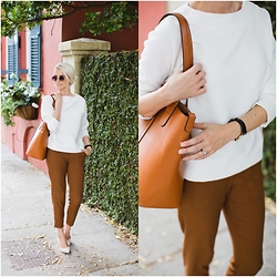 Dannon K Collard - H&M Wude Cut Sweater, H&M Trousers, Sante Shoes Beige Pumps, Ms Littles Bag Bucket - Fancy strolls downtown