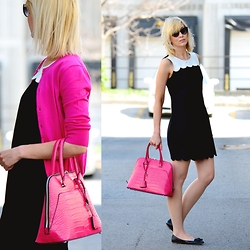 Tatiana M - Zara Bag, J. Crew Dress, J. Crew Cardigan, J. Crew Flats, Kate Spade Shades - Double Scalloped