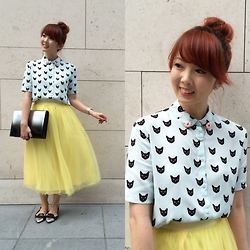 Yan Yan - H&M Cat Print Blouse, Aforarcade Yellow Tulle, Charles & Keith Ombre Clutch, Charles & Keith Ombre Flats - A Dose of Kitties, Sunshine & Doughnuts