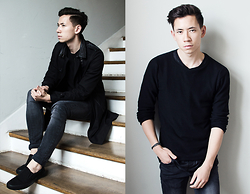 Frank Lin - The Kooples Black Trenchcoat, H&M Black Knit, Diesel Dark Grey Jeans, Vans Black Shoes - All that black.