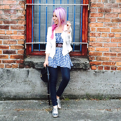 Aika Y - 1.State White Moto Jacket, Asos Gingham Check Skirt, Gap Skinny Jeans, Justfab Metallic Oxford Shoes - Gingham Check