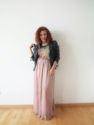 Lary Mello -  - Maxi Skirt & Leather Jacket