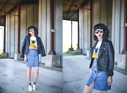 Leeloo P - Leather Jacket Zara, Tshirt Les Prairies De Paris, Skirt Diario De Una Couturier - Denim & Pineapple