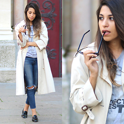 Fadela MECHERI - Burberry Trench Coat, J Brand Jeans, Repetto Loafers - REPETTO