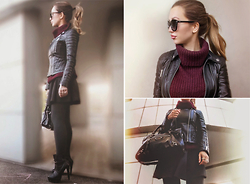 Anna Razumovskaya - Burberry Leather Jacket, Forever 21 Sweater, Topshop Skirt, Balenciaga Bag - Burgundy & Balenciaga