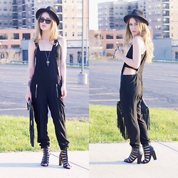 Julia Weber - Express Over Alls, Steve Madden Heels, Nordstrom Fringe Clutch, Forever 21 Crop Top, H&M Hat - Over It