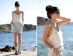 Ricarda Schernus - H&M Silk Shorts, H&M Silk Top, Birkenstock Sandals, Rosefield Watch, Prada Sunglasses - Ocean View