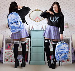 Amelia Breading - Spiral Cloud Backpack, Fivepoundtee Xo Sweatshirt - XO