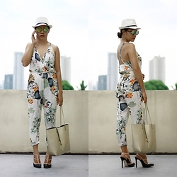 Jenniya Yah - Trendsgal Floral Jumpsuit, Trendsgal Belt Decorated Straw Hat, Sheinside Metallic Tote Bag - Floral Jumpsuit